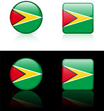 guyana Flag Buttons on White and Black Background