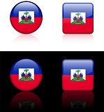 Haiti Flag Buttons on White and Black Background