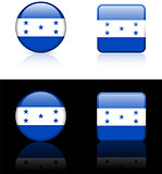 Honduras Flag Buttons on White and Black Background