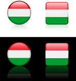 Hungary Flag Buttons on White and Black Background