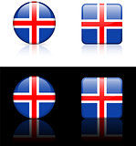Iceland Flag Buttons on White and Black Background