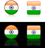 India Flag Buttons on White and Black Background