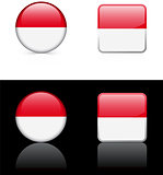 Indonesia Flag Buttons on White and Black Background