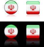 Iran Flag Buttons on White and Black Background
