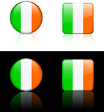 Ireland Flag Buttons on White and Black Background