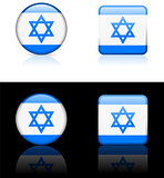 Israel Flag Buttons on White and Black Background