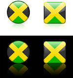 Jamaica Flag Buttons on White and Black Background