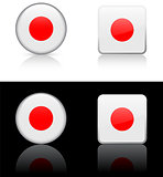 Japan Flag Buttons on White and Black Background