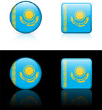 kazakhstan Flag Buttons on White and Black Background