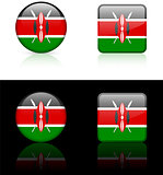 Kenya Flag Buttons on White and Black Background