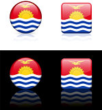 kiribati Flag Buttons on White and Black Background