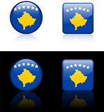 kosovo Flag Buttons on White and Black Background