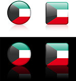 kuwait Flag Buttons on White and Black Background