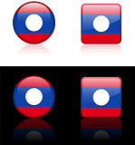 Laos Flag Buttons on White and Black Background