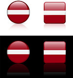 Latvia Flag Buttons on White and Black Background