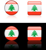 lebanon Flag Buttons on White and Black Background