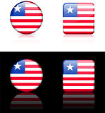 Liberia Flag Buttons on White and Black Background