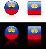 liechtenstein Flag Buttons on White and Black Background