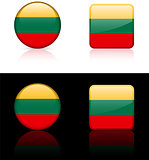 Lithuania Flag Buttons on White and Black Background