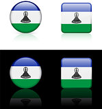 Losotho Flag Buttons on White and Black Background