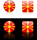 macedonia Flag Buttons on White and Black Background