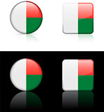 Madagascar Flag Buttons on White and Black Background