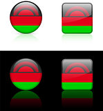 Malawi Flag Buttons on White and Black Background
