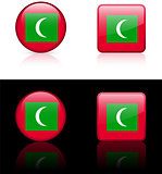 Maldives Flag Buttons on White and Black Background