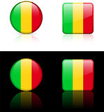 mali Flag Buttons on White and Black Background