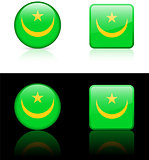 mauritania Flag Buttons on White and Black Background