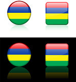 Mauritius Flag Buttons on White and Black Background