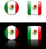 Mexico Flag Buttons on White and Black Background