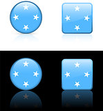micronesia Flag Buttons on White and Black Background