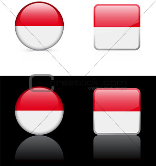 monaco Flag Buttons on White and Black Background