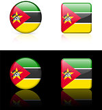 mozambique Flag Buttons on White and Black Background