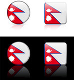 nepal Flag Buttons on White and Black Background
