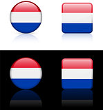 netherlands Flag Buttons on White and Black Background