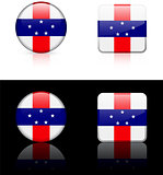 Netherlands Antilles Flag Buttons on White and Black Background