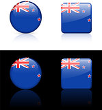 new zealand Flag Buttons on White and Black Background