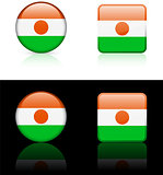Niger Flag Buttons on White and Black Background