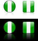 Nigeria Flag Buttons on White and Black Background