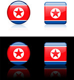 north korea Flag Buttons on White and Black Background