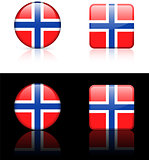 norway Flag Buttons on White and Black Background
