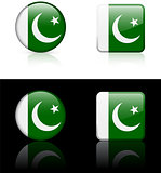 Pakistan Flag Buttons on White and Black Background