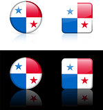 panama Flag Buttons on White and Black Background