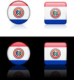 paraguay Flag Buttons on White and Black Background