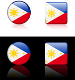philippines Flag Buttons on White and Black Background