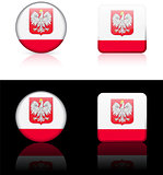 poland Flag Buttons on White and Black Background