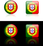 portugal Flag Buttons on White and Black Background