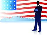 Businessman with American Flag Background